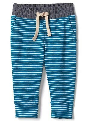 EUC Baby Gap Boy's Blue & White Striped Jersey Pants 0-3 Months