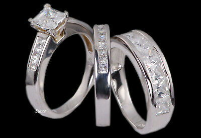 His & Hers 14k White Gold 925 Sterling Silver Engagement Ring Wedding Band Set