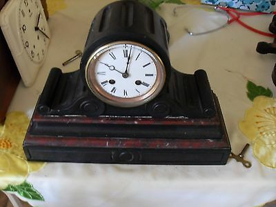 French Slate and Marble drum head Mantle clock.
