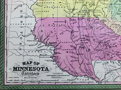 Minnesota Territory Indian Lands Blue Earth 1850 Cowperthwait old color map.