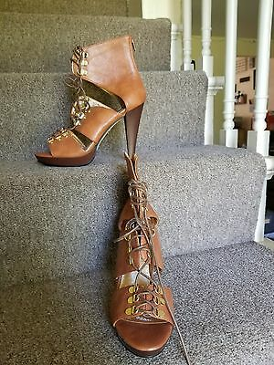"""Dollhouse Brown Leather Peep Toe Lace-Up Buckled Heels Size 8.5 """"Alhambra"""""""