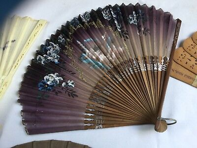 Lot Of 5 Antique Hand Fans Wood, Bone Tortoise Shell Plastic, Remember The Maine