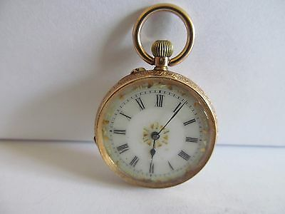 14ct solid gold fob pocket watch in very good condition and good working order