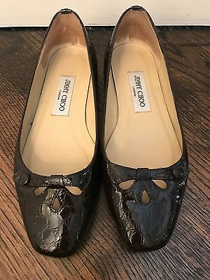 Jimmy Choo Embossed Brown Patent Leather Flats Shoes, Sz 36 1/2