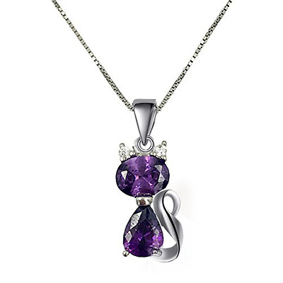 18'' Sterling Silver Box Chain Amethyst CZ Cat Pendant Necklace Kitten Gift Box