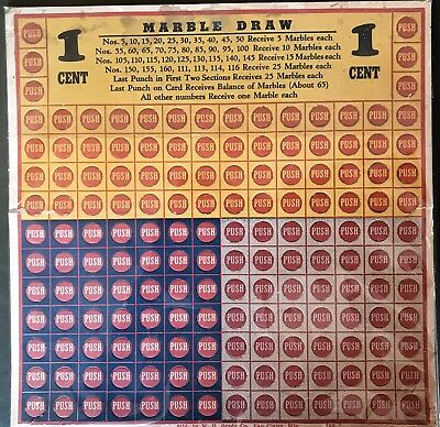 Vintage Antique Marbles One Cent Marble Draw Carnival Game