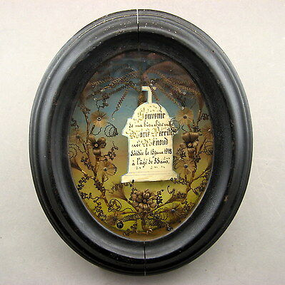 Antique Framed Mourning Hairwork Floral. With Inscription And Date.