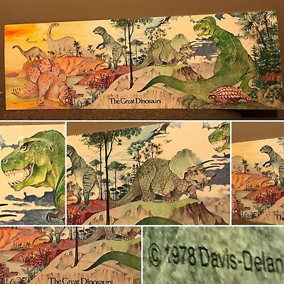 """Vintage 1978 The great Dinosaurs Store Display Sign Xerox Edu Book Club- 34""""x11"""""""