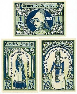 **1921 SCHEESSEL Germany - TRADITIONAL WEAR ~ Complete Set German Notgeld UNC