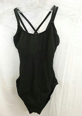 Capezio Girls with crossed Straps at the  back Leotard dance   Black Size Small