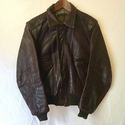 "VINTAGE 1940s-1950s ""FLIGHTMASTER"" HORSEHIDE LEATHER FLIGHT JACKET by GRAIS 40R"
