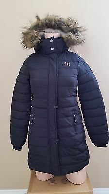 Abercrombie Kids Girls Winter Faux Fur Coat Jacket Parka W-Hoodie Black SZ/11/12
