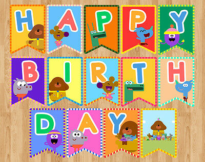 Hey Duggee Duggie Happy Birthday Banner Flag Pennant Bunting Party Digital File