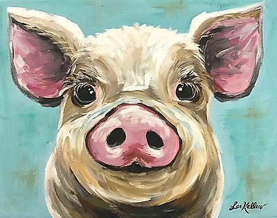 """Pig Art Print from original pig painting 11x14"""", signed by artist"""