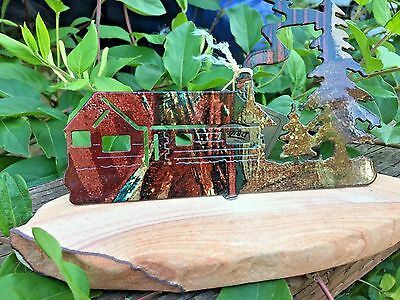 Lazart Log Cabin Metal Sculpture On Sandstone New with Tags