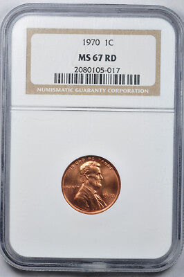1970 1c Lincoln Memorial Cent NGC MS67RD