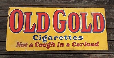 >Real/RARE 1927 OLD GOLD CIGARETTES CANVAS BANNER ~Not A Cough In A Carload~