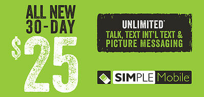 SIMPLE Mobile $25 Monthly Unlimited Plan Refill!
