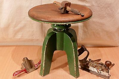 Antique Industrial Cast Iron & Oak Adjustable Factory Stool Drafting / Machinist