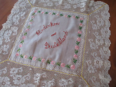 Lovely Silk Embroidered Lace Souvenir  Cloth From Germany