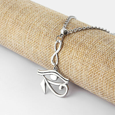 """Antique Silver Egyptian Eye of Horus / Ra Amulet Pendant Chain Necklace 18""""-30"""""""