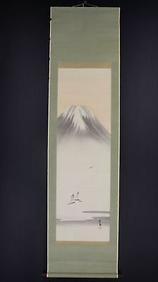 """JAPANESE HANGING SCROLL ART Painting Scenery """"Mt. Fuji"""" Asian antique  #E7106"""
