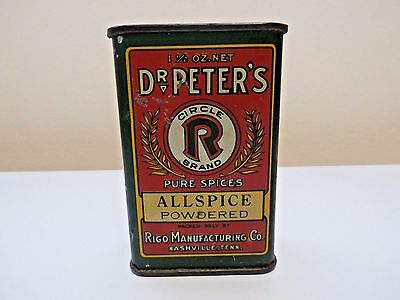 Dr.peters Circle R Brand Allspice Powdered Tin Rigo Mfg./full Contents-L@@k!