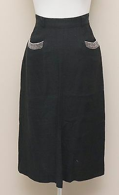 Vintage 1950s Womens Size 2 Charcoal Wool Pencil Skirt w/ Pockets