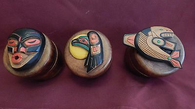 3 Haida Inuit Hand Carved Indian Motif Boxes Artie George Canada