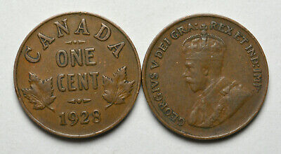1928 CANADA 1 cent King George V Penny