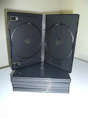 (5) New Standard 14mm Double Disc Empty Replacement DVD Cases Black Hold 2 Discs