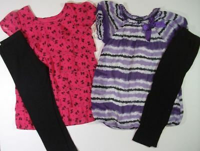GEORGE 2 OUTFITS Capri Leggings Tunic Tops pink bows purple girls 6 6x