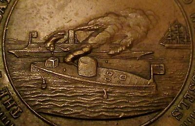 1860's Civil War Confederate Merrimac Defeated By Monitor George H. Lovett Medal