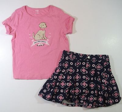 GYMBOREE SMART GIRLS RULE navy pink floral SKIRT puppy dog TOP set 7 8