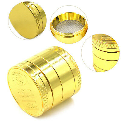Gold Colour 4 Piece Herbal Alloy Herb Spice Grinder Smoke Metal Chromium Crusher
