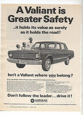 Chrysler VC Valiant Original Advertisement removed from a magazine