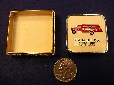 "Near Mint Nos Vtg ""barlow"" Advertising Tape Measure ""f&m Oil Co, Finly, Indiana"""