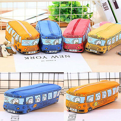 Students Kids Cats School Bus Pencil Case Bag Office Stationery Bag FreeShipping