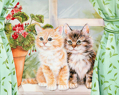 Pussy Cat Kitty Cute Painitng wall Canvas print Home Decor quality choose size