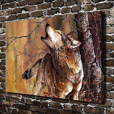 With Nature Wolf Animal HD Canvas Print Home Decor Paintings Wall Art Pictures