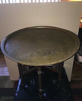 Antique Egyptian Brass Tray On Antique Carved Wood Folding Stand