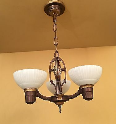 Vintage Lighting pair restored 1930s Markel chandeliers. More Available