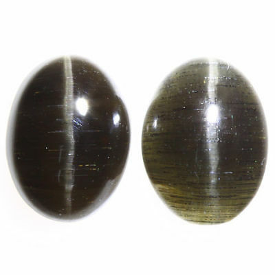 3.290 Ct VERY RARE FINE QUALITY 100% NATURAL SILLIMANITE CAT'S EYE INTENSE PAIR!
