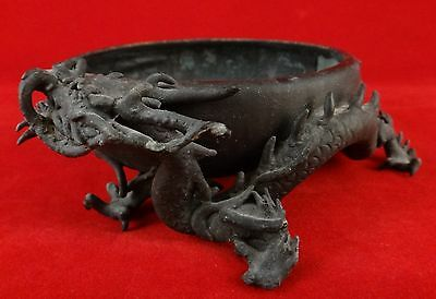"Japanese Bronze Dragon Bowl. Meiji Period, 1868-1912. 4"" dia."