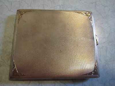 Sterling Silver Cigarette Case Gold Inlay