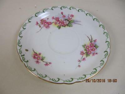Shelley Saucer Only Green Squiggle & Dot Band w Florals gold detail #135823