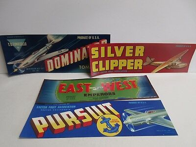 Lot of 7 Airplane Fruit Crate Labels