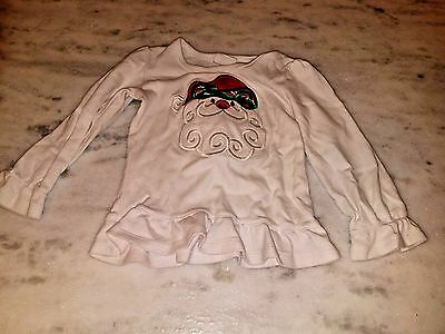 Toddler Girl Santa Claus Embroidered Top Long Sleeve Shirt White Size 2T