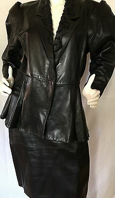 VINTAGE 1980 JEAN-CLAUDE JITROIS Black Leather Skirt Suit W/ Beading SZ L