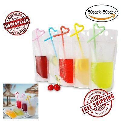 50Pcs Drink Bags Reclosable Zipper Stand-up Ziplock Pouches Clear + 50Pcs Straws